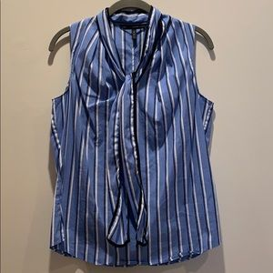 WHBM size 8 blue and white striped top